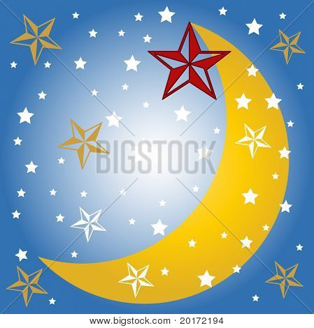 stylized stars and moon vector