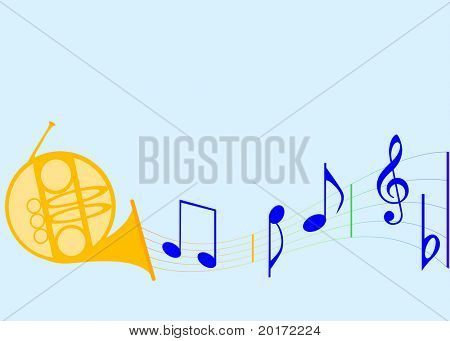 fun times horn with musical notes vector