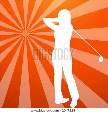 golfer silhouette with burst vector