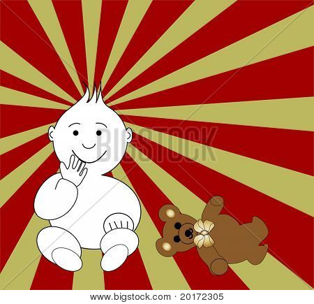 baby with teddy vector change colors easily