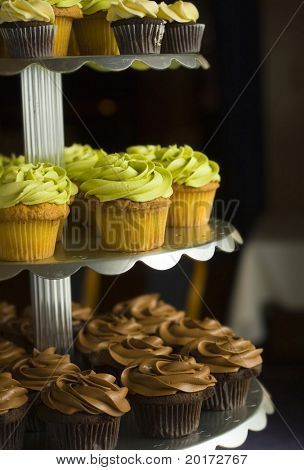 cupcakes on a tier food