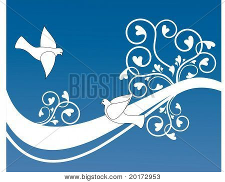 fun banner with hearts and bird vector 2 of 3