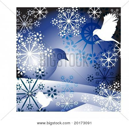 winter frame of snowflakes birds