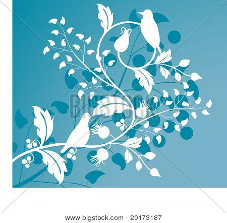 foliage with birds stylized