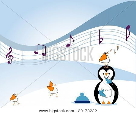 musical notes with penguins and arctic birds