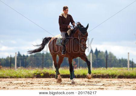 Equitación: joven, montar a caballo Bahía en platz