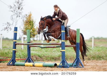 saltos - joven y caballo