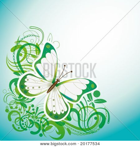 Abstract Background With A Butterfly