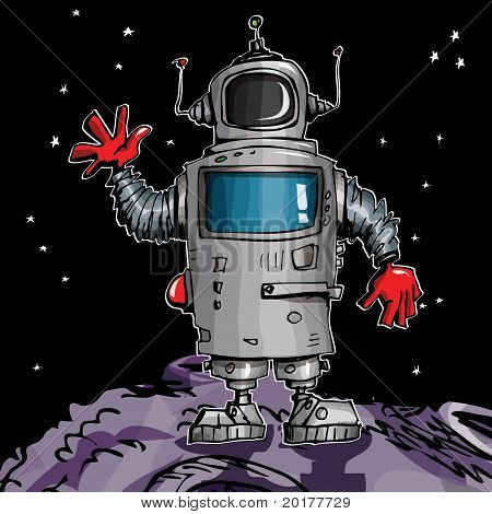 Cartoon Robot In Space