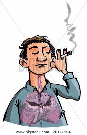 Cartoon Of Evil Smoke Filling A Smokes Lungs