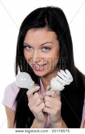 Woman with energy-saving lamp.