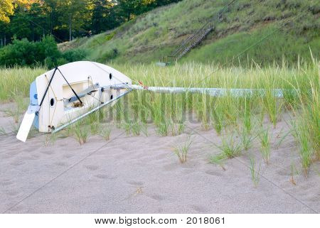 Sailboat On Lake Michigan Beach