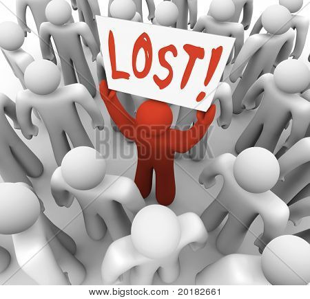 A red person stands out in a crowd holding a sign reading Lost