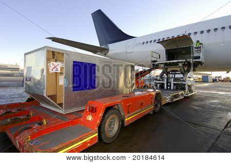 airplane loaded with cargo