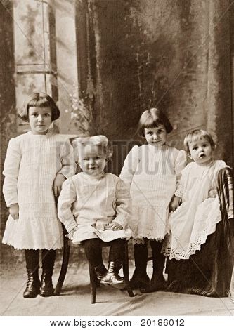 Four Children Vintage Photograph