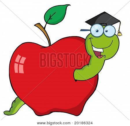 Happy Graduate Worm In Apple