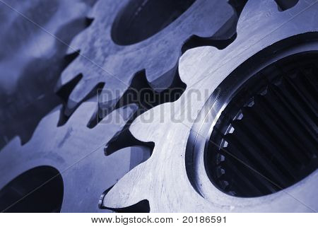 three gears, cogs in blue