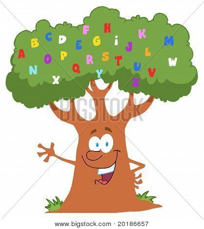 Freundliche Alphabet Baum winken
