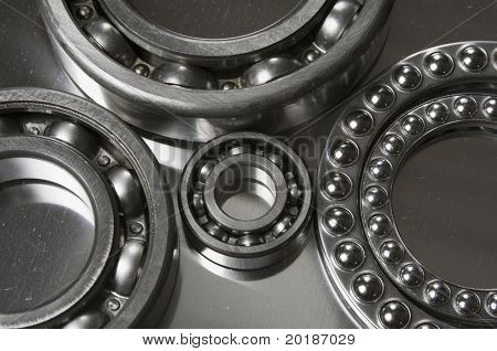 various types of ball-bearings reflected in titanium