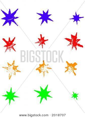 zwölf Grunge Sterne