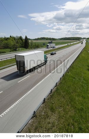 van driving on highway with panorama