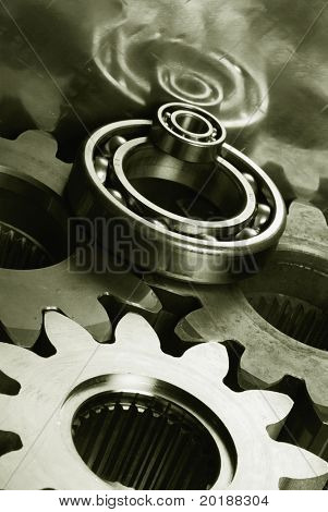 gears and bearing idea mirrored in titanium ( duplex )