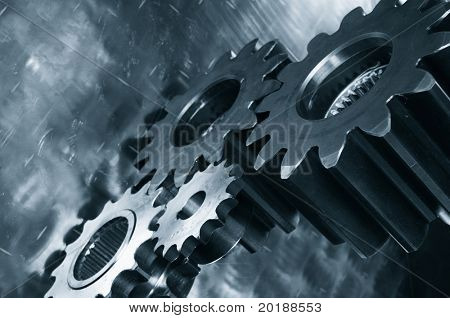 large gear machinery in dark metallic blue casting