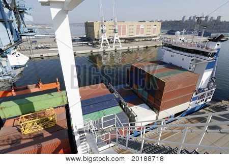 container ship in port loaded with containers