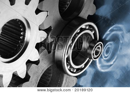 gear and bearing concept in dual toning of metal and blue titanium