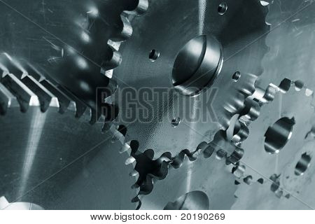 industrial titanium gears machinery, blue toning idea