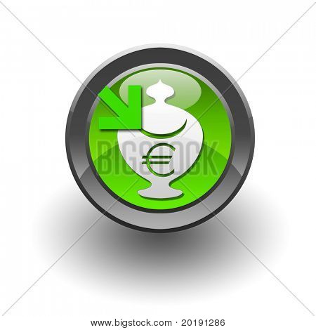 colour circle button with currency symbols inside