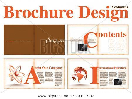 Business Brochure Layout Design Template with 8 pages (4 spreads) Preview.