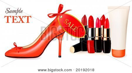 Sexy high heel shoe and group of lipsticks. Vector illustration.