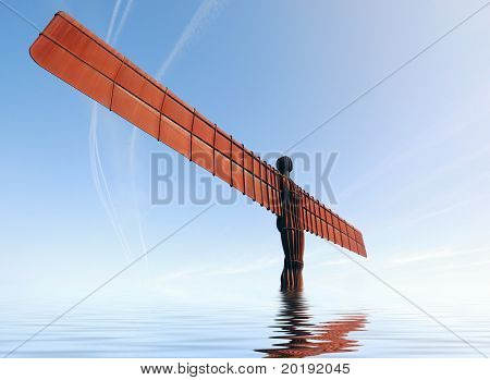 Angel of the North Statue with simulated flood effect.