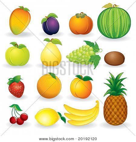Set of fruit vector illustrations isolated on white background