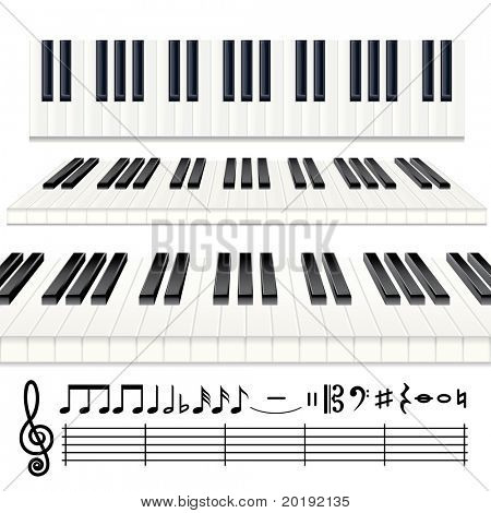 Musical Design Elements - vector Piano keys or Organ keyboard and all note icons