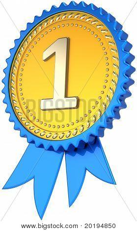 Prêmio primeiro lugar orgulho de fita emblema, em dourado