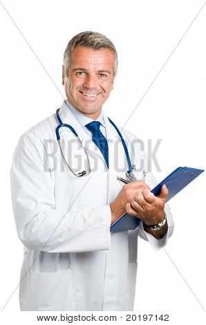 Happy smiling mature doctor writing notes and prescriptions on clipboard isolated on white background
