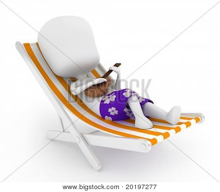 3D Illustration of a Man Playing the Ukelele