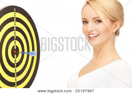 bright picture of businesswoman with dart and target