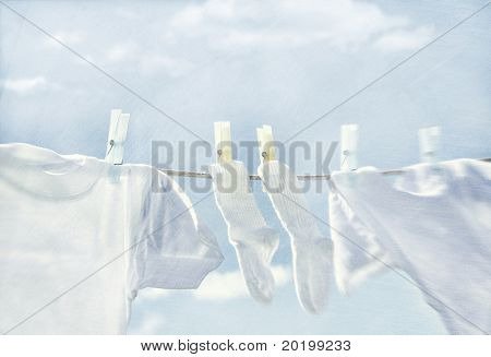 Clothes hanging on wash line