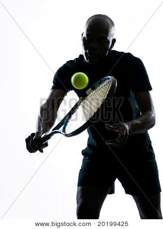 man african afro american playing tennis player backhand, on studio isolated on white background