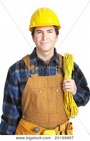 Young handsome electrician in yellow uniform. Over white background