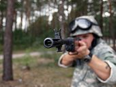 picture of hider  - The soldier in ACU with M - JPG