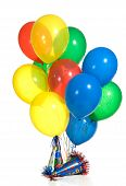 foto of party hats  - Primary color balloon boques with party hats - JPG
