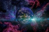 Solar System - Earth. Outer Space On The Background. poster