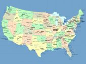 image of united states map  - USA map with names of states and cities - JPG