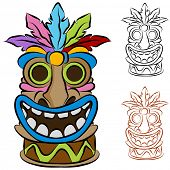 stock photo of tiki  - An image of a wooden tribal tiki idol - JPG