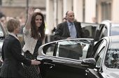 LONDON, ENGLAND - APRIL 28: Kate Middleton waves to onlookers as she arrives at the Goring Hotel on