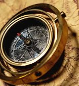 stock photo of treasure map  - Vintage compass on the old map - JPG